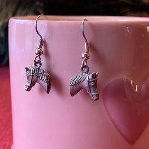 Horse Earrings Pewter Charm Pierced French Hook